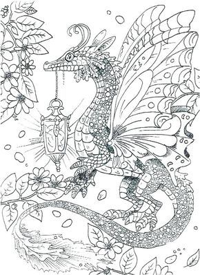 Coloring Pages Licious Dragon Coloring Pages For Adults: Simple ... | 398x290