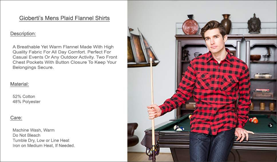 64f57db3 Gioberti Men's Plaid Checkered Brushed Flannel Shirt at Amazon Men's Clothing  store: