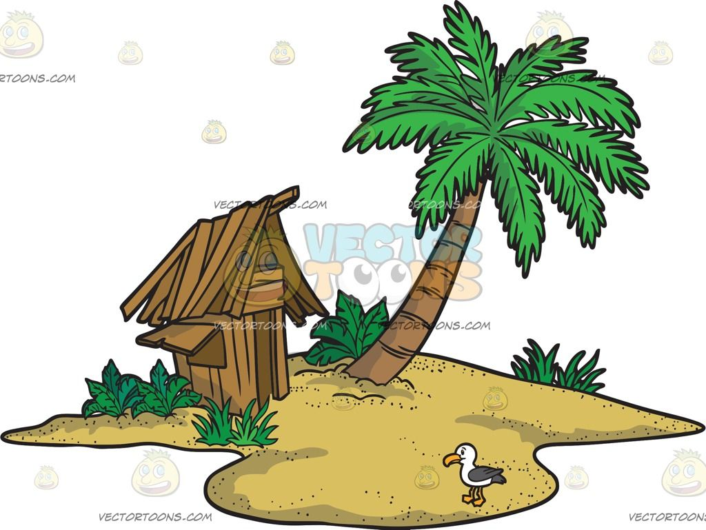 A Tropical Island With A Hut :  A small sandy island with a palm trees a house made out of brown wood several plants and grass and a seagull with white and dark gray feathers yellow orange beak and feet  The post A Tropical Island With A Hut appeared first on VectorToons.com.