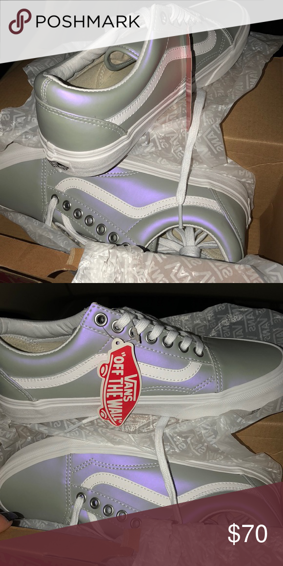 3b8c6dc5176e5d Authentic Vans sneaker reflects metallic purple when light shines on them.  Woman s 8 1 2. Fits more of a size 9 shoe than ...