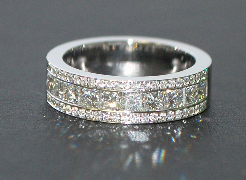 3 80ct Luxury Mens Diamond Wedding Band 18k White Gold Etsy Mens Diamond Wedding Bands Mens Diamond Wedding Diamond Wedding Bands
