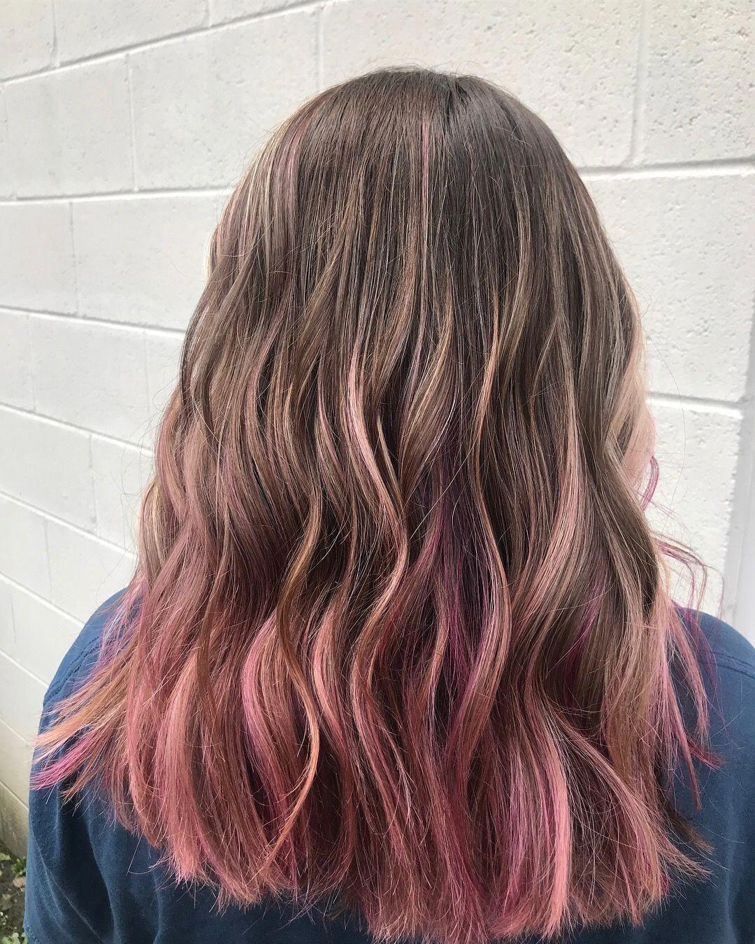 Pink In Brown Hair Pink Hair Dye Pink Hair Tips Hair Dye Tips