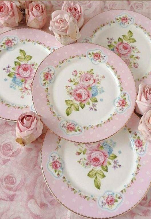 Shabby Chic Dinner Plates Pink and White with Pink Roses and Green Leaves in Center  sc 1 st  Pinterest & Shabby Chic Dinner Plates Pink and White with Pink Roses and Green ...