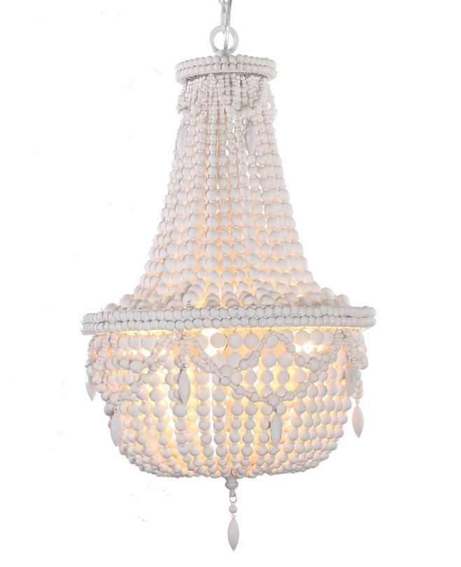 Karcsi Exotic Painted Wooden Beaded Empire Chandelier