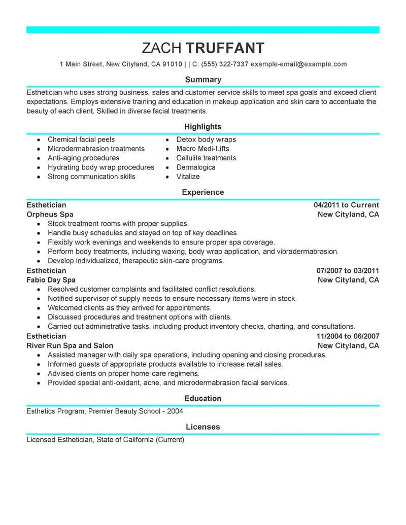 Resume Examples Me Nbspthis Website Is For Sale Nbspresume Examples Resources And Information Esthetician Resume Cover Letter For Resume Esthetician