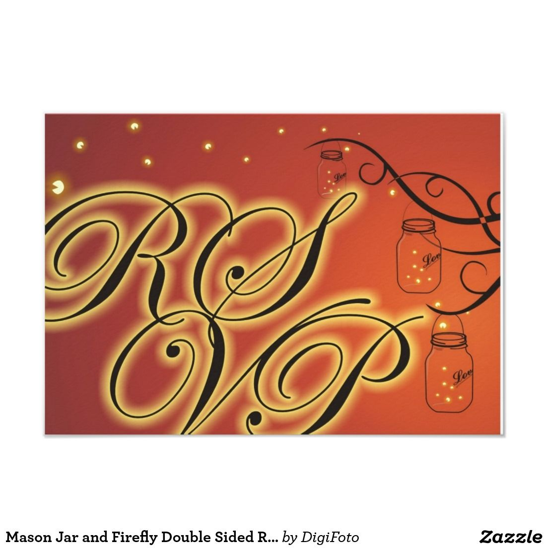 Mason Jar and Firefly Double Sided RSVP Orange Card | Fireflies and ...