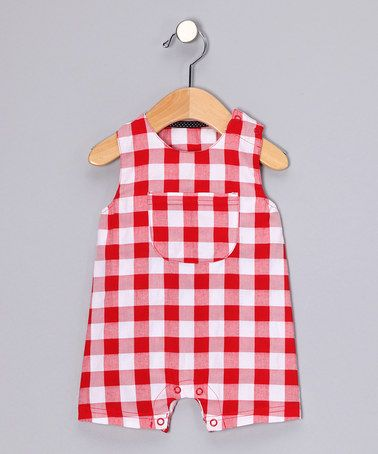 Take a look at this Red Gingham Shortalls - Infant by Lilly & Sid and wobabybasics on #zulily today!
