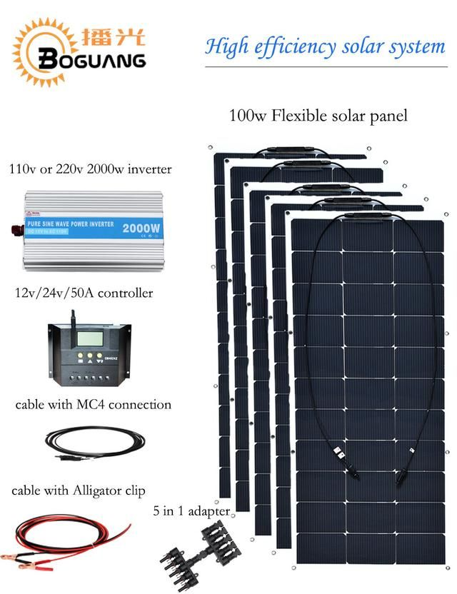 Boguang 500w Solar System 100w Semi Flexible Solar Panel Efficient Cell Module For 12v Battery Electrical Flexible Solar Panels Solar Panels Best Solar Panels