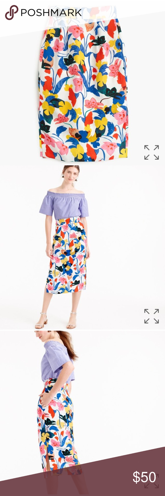 JCrew Print Pencil Skirt The ultimate summer skirt—with pockets!—in a vibrant primary-colored floral. The secret to its brilliance is our soft lyocell-linen fabric that beautifully holds color. Designed to flatteringly fit at the smallest part of the waist, the silhouette also features side slits for the perfect amount of moveability. So basically, it's a dream skirt for work and weekends. Sized as 12 but cut smaller. Price is firm. J. Crew Skirts Midi