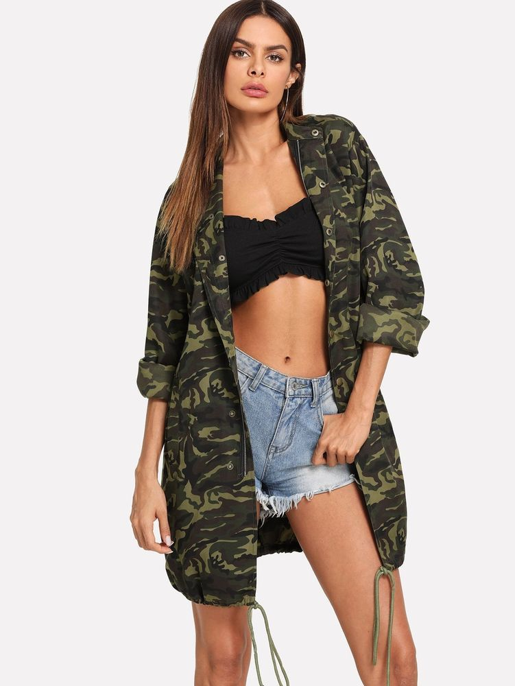 5430c00f7d109 Drawstring Hem Camo Utility Coat #fashion #clothing #shoes #accessories  #womensclothing #coatsjacketsvests (ebay link)