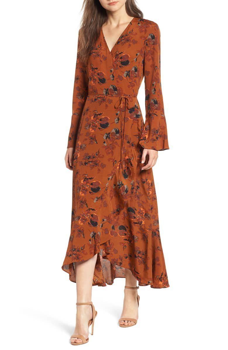 Leith Bell Sleeve Wrap Midi Dress Regular Plus Size Nordstrom Fall Wedding Guest Dress Wedding Attire Guest Guest Attire [ 1196 x 780 Pixel ]