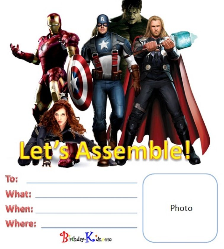 Free Printable Avengers Birthday Invitations Party