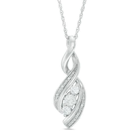 Zales Lab-Created Blue Sapphire and Diamond Accent Cascading Three Stone Pendant in Sterling Silver CHyNz2j