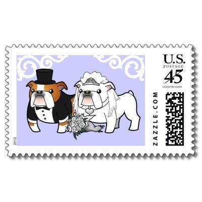 Bulldog Wedding Postage   Zazzle com   Wedding Invitations