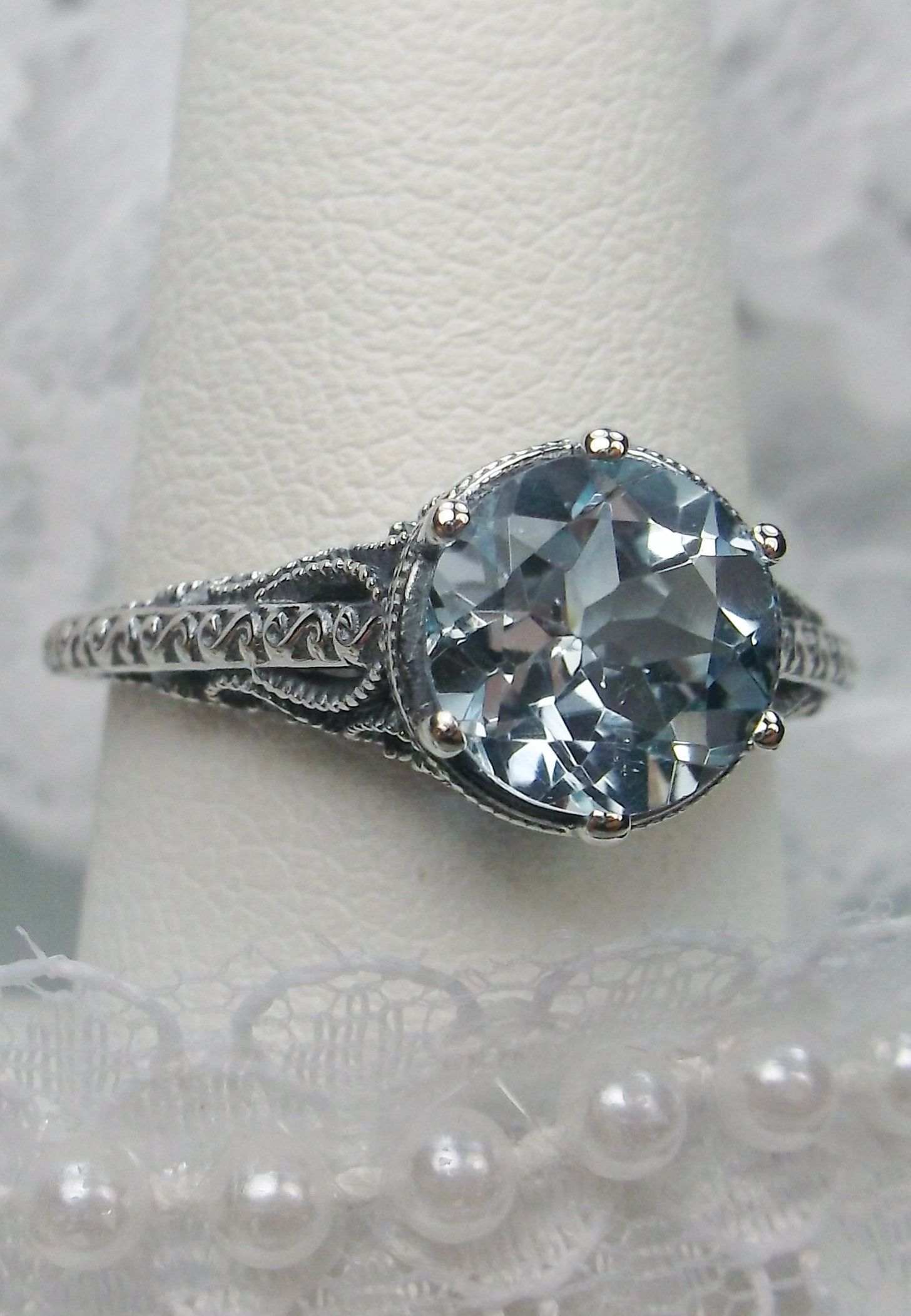 d29cd1532 Round Cut Natural Blue Topaz Gem Sterling Silver Elegant Intricate Filigree  Ring Size {Made To