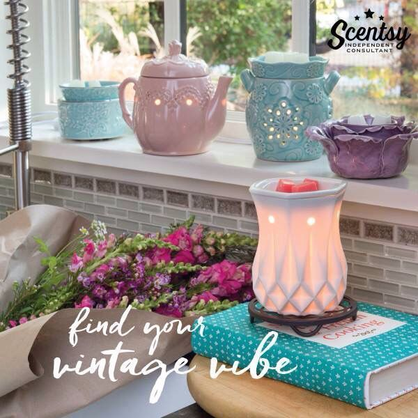 Find your vintage vibe with Scentsy warmers!  #wicklessmolly #lifesmellsgood