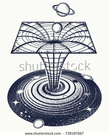 Black Hole Tattoo And T Shirt Design Symbol Of Science Astronomy