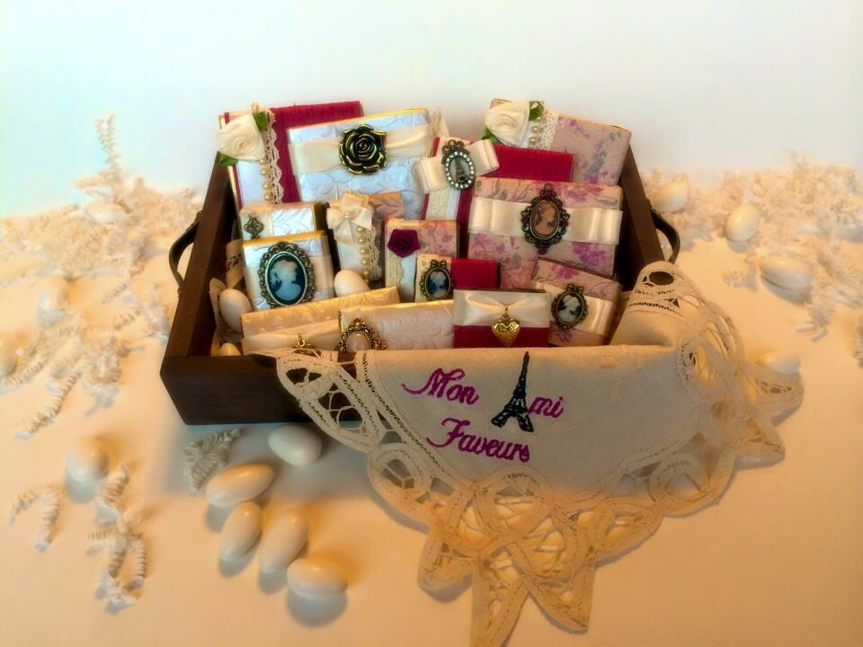 wrapped chocolate favor in a vintage theme