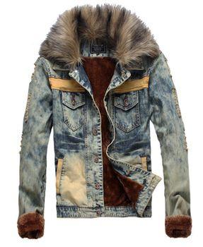 739a3f2b5e0 Dp-14 джинсовые куртки с мехом для мужчин мужские куртки и пальто осень  зима одежда