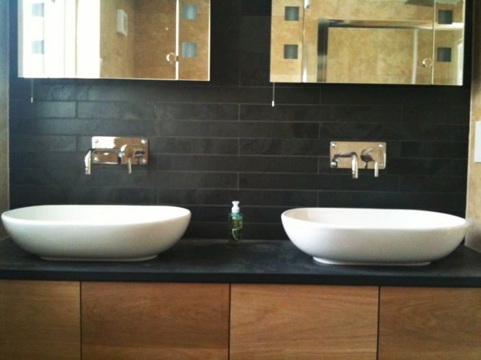 Mit dekorativen Schiefer Waschtische können Sie das komplettes - badezimmer modern schiefer