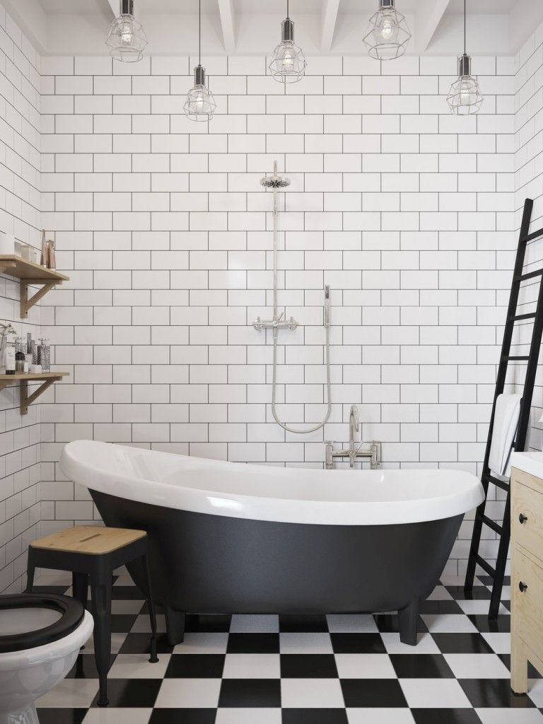 Bathroom: Black And White Checkerboard Tiles For Art Deco Bathroom ...