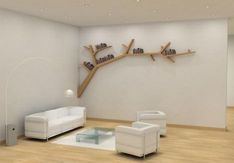 branching living room bookcase
