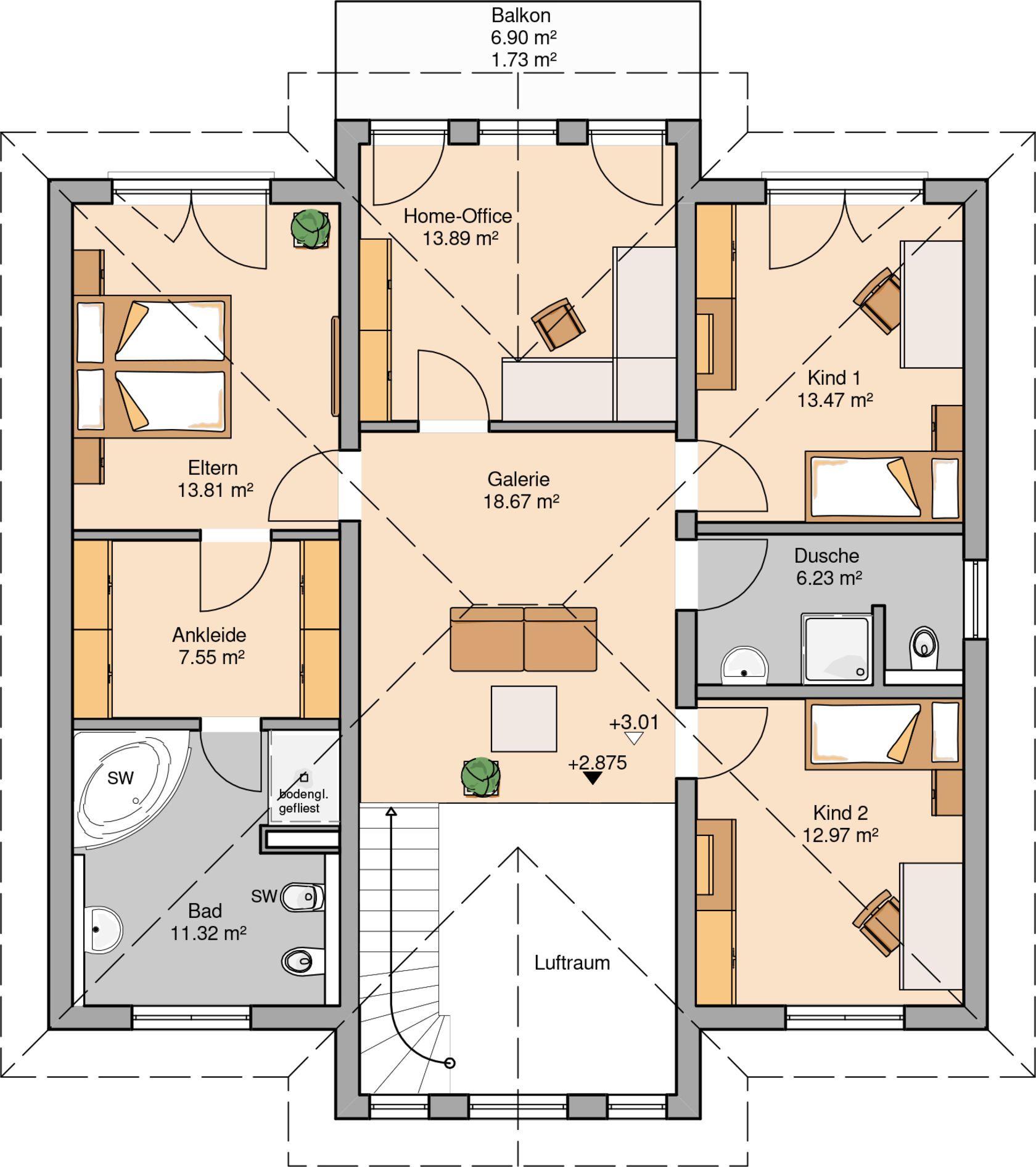 Grundriss einfamilienhaus modern obergeschoss  Kern-Haus Stadtvilla Karat Grundriss Obergeschoss | Häuser ...