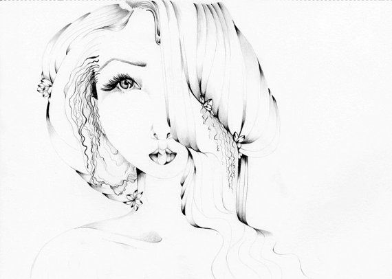 Line Drawing Face Woman : Pencil drawing ooak original by abitofwhimsyart