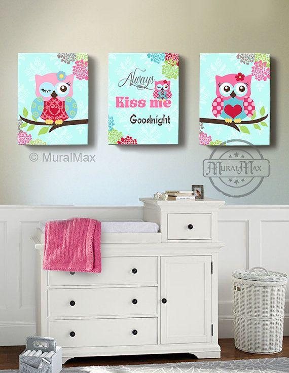 Cute Owl Decor For Baby Room Canvas Art By Muralmax Owlnursery Owldecor Sroom