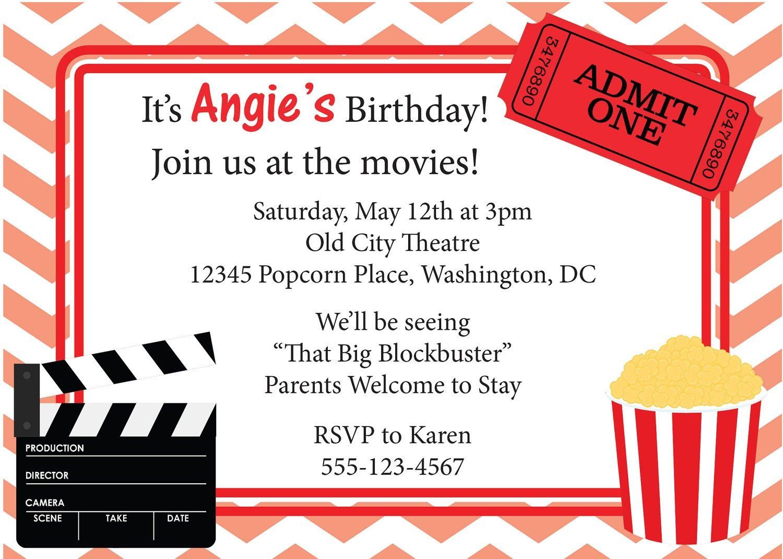 movie invitation printable - Google Search | Drive in Birthday ...