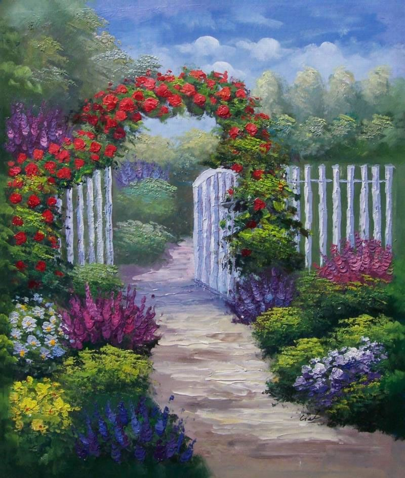 Claude Monet Oil Painting #114Impressionism White Picket Fence