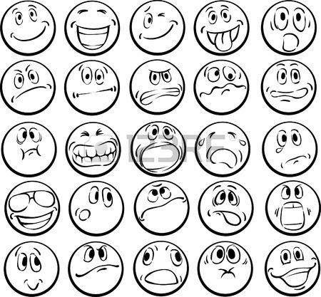 Ilustracin del vector del libro de colorear de caras emocionales