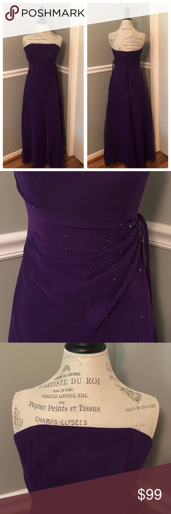 663dffb95eb2b NEW PURPLE STRAPLESS JEWELED BALL GOWN Gorgeous! 💫💫💫 NWOT Purple  Strapless Chiffon Formal
