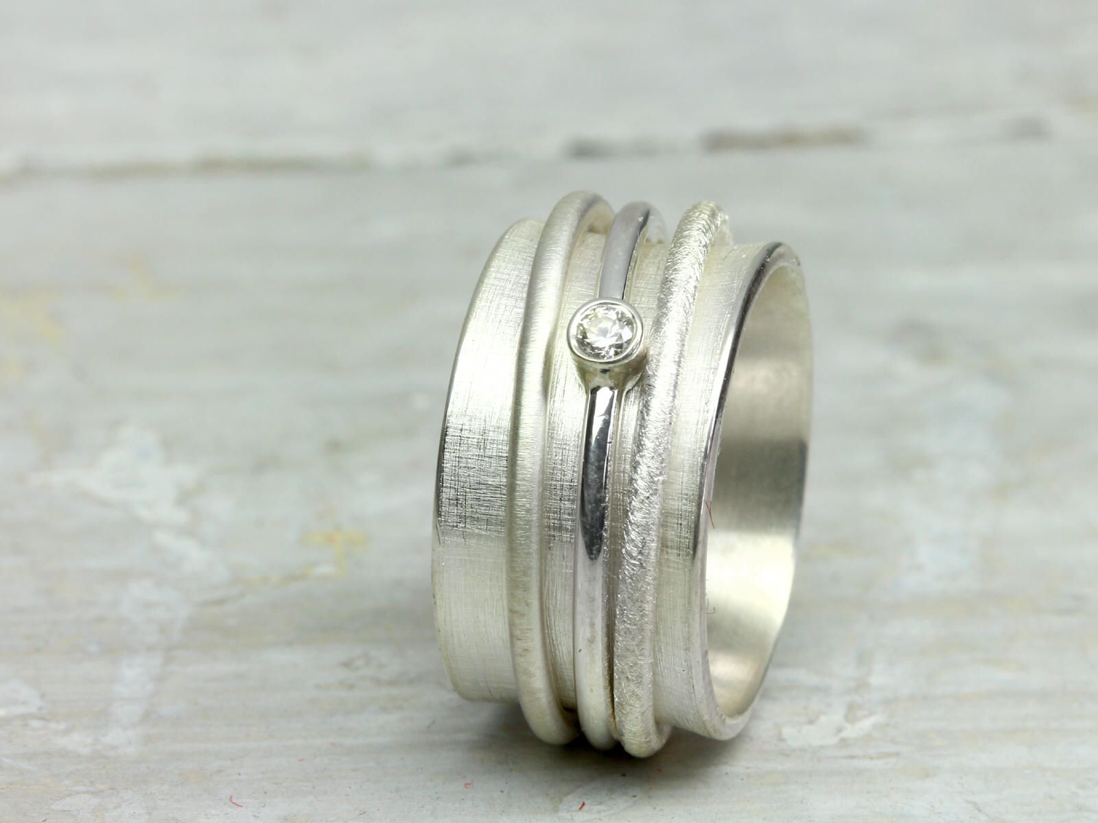 Drehring Spielring Sparkle Mit Stein 925 Silber Zirkonia Ring