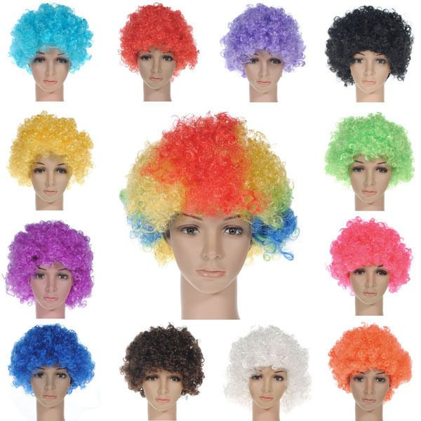 Party Disco Rainbow Afro Clown Hair Football Fan Adult  Costume Curly Wig /_WK