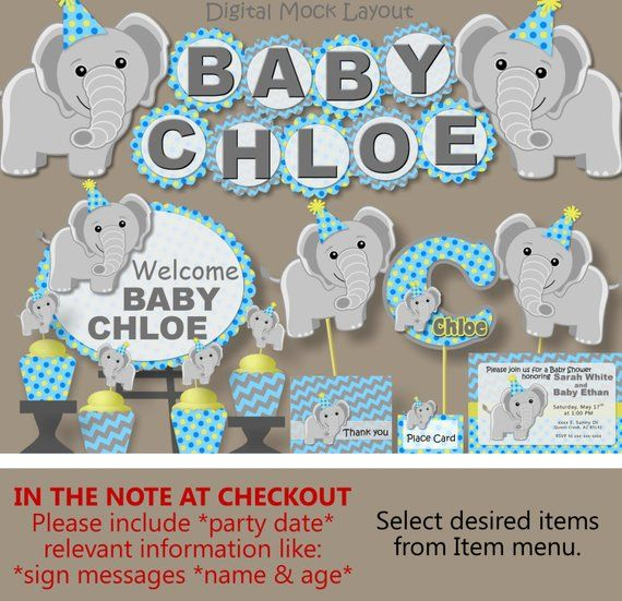 Boy Blue Elephant Baby Shower Decorations Or First 1st Birthday Party