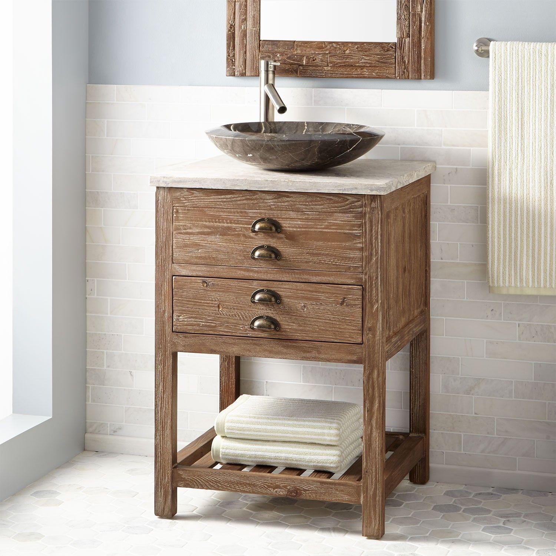 24 Benoist Reclaimed Wood Vessel Sink Vanity Pine