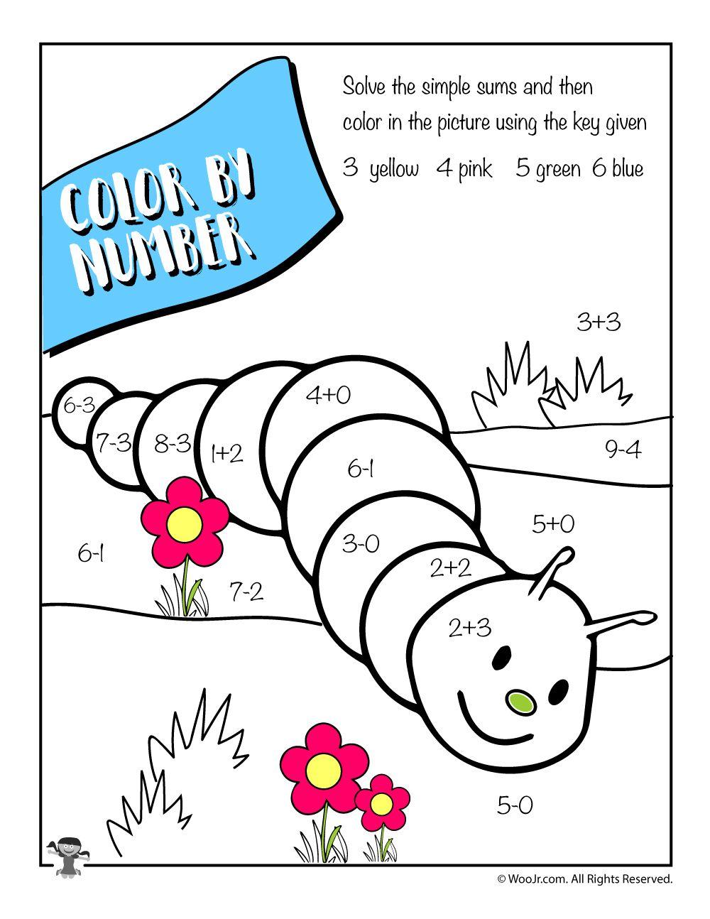 Math Color By Number Worksheet Woo Jr Kids Activities Math Coloring Spring Math Worksheets Spring Math [ 1294 x 1000 Pixel ]