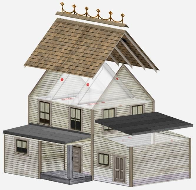 PAPERMAU: Two Story Farm House Paper Model In O Scale