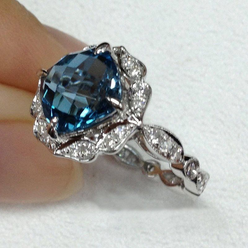 Topaz London Blue Engagement Ring 8mm 3 1ct Cushion Cut In A