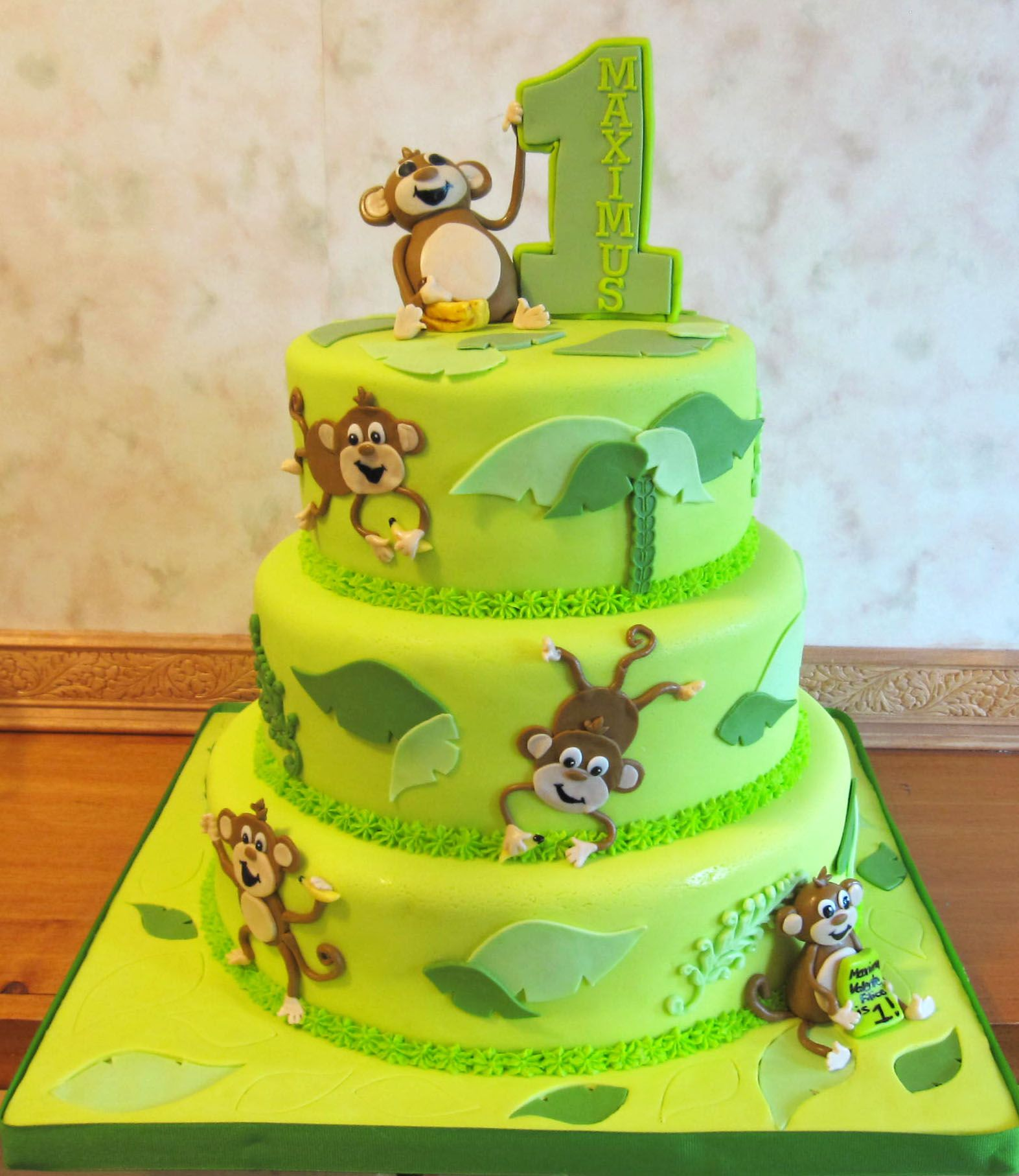 Awesome 3 Tier Monkey 1St Birthday Cake Monkey Birthday Cakes Monkey Funny Birthday Cards Online Kookostrdamsfinfo