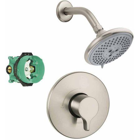 Hansgrohe KS04355-27447PC Raindance E 120 Air 3-Jet Showerhead Kit with PBV Trim and Rough-In, Various Colors, Silver