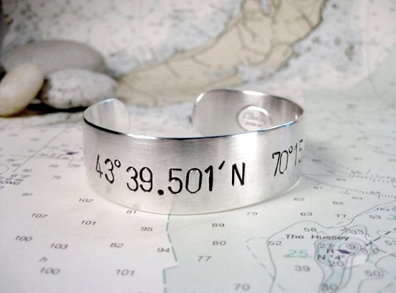 Custom Latitude Longitude Bracelet Women's by ElizabethPriorDesign