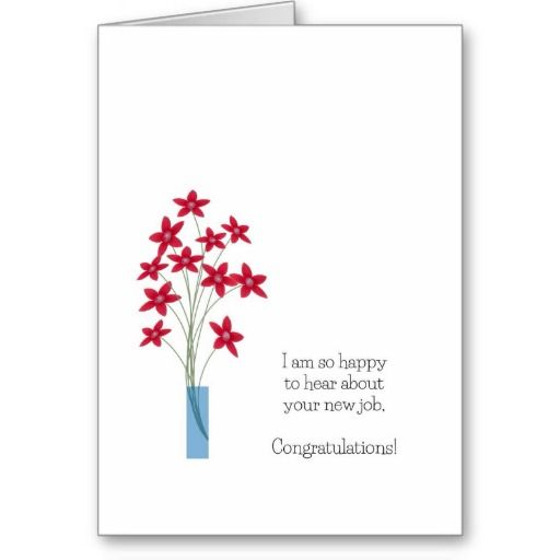 New Job Congratulations Cards Cute Red Flowers Card Guppi Toons