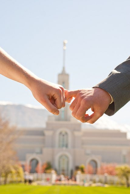 Wedding photography - pinky promise, Mount Timpanogos temple - LDS temple