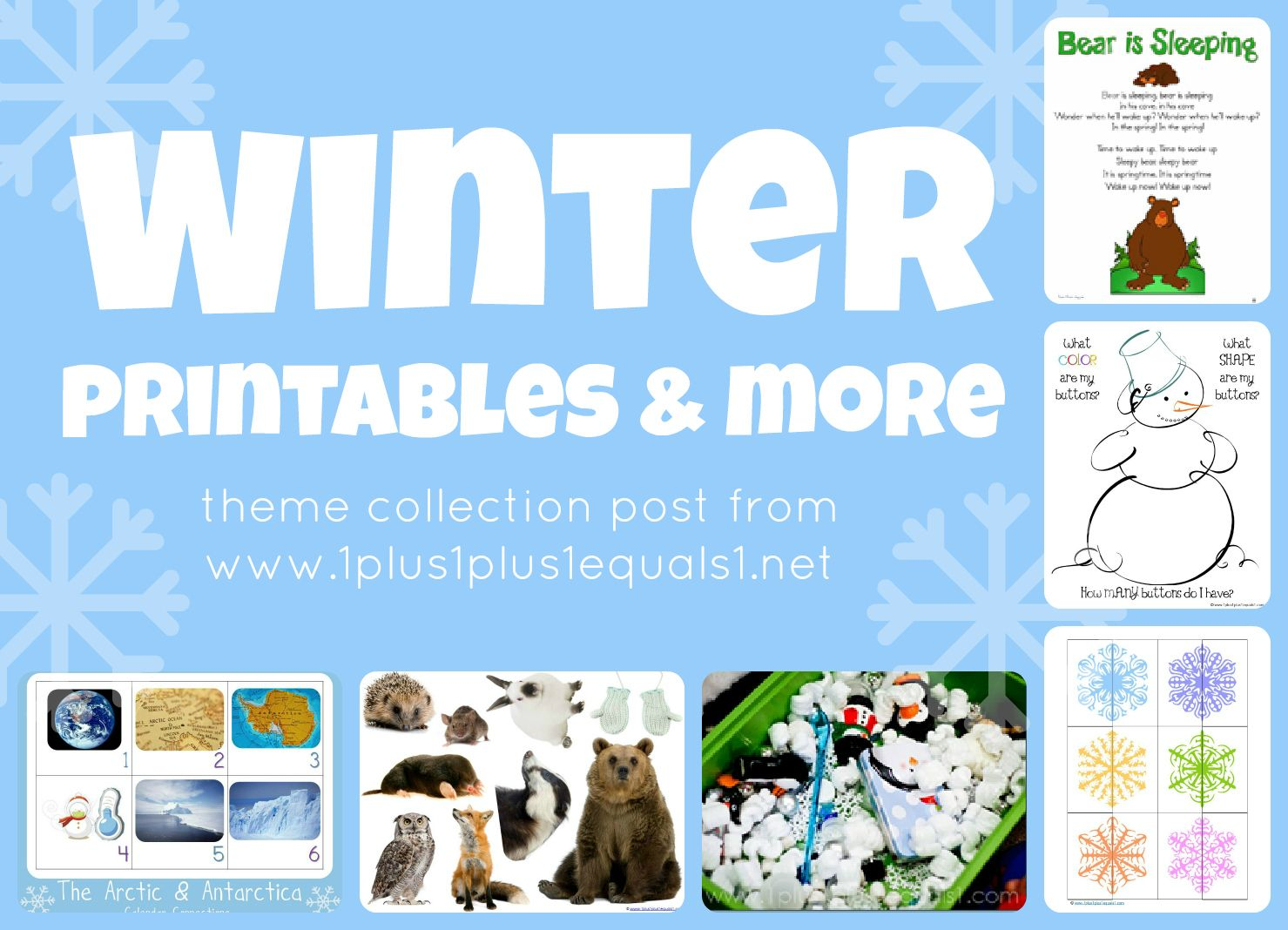 Winter Theme Printables And More Collection Post From 1 1 1 1