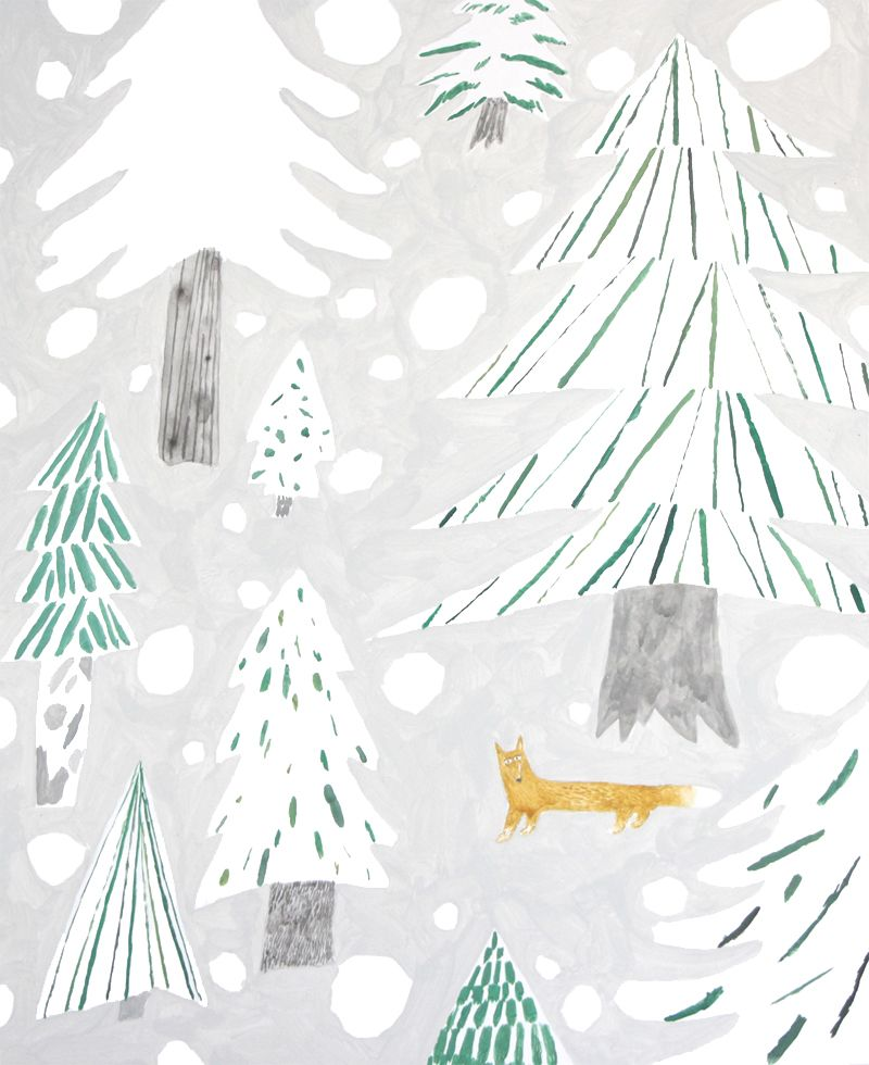 cool things to paint illustration winter woodland forest fox painting 31375