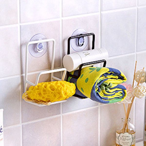 Sundries Storage Rack Double Sink Sponge Rack Bathroom Kitchen Metal Racks  Holder Shelf Sucker
