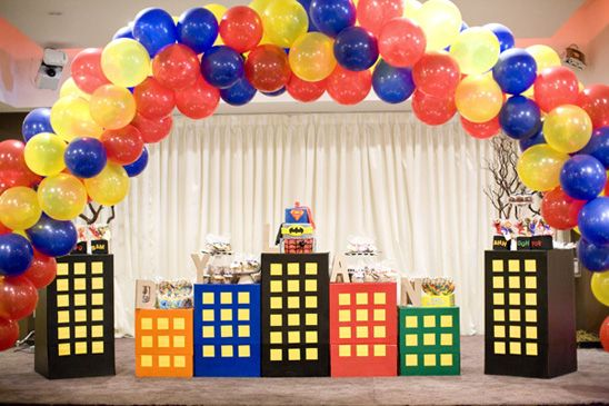 Superhero 2nd Birthday Party The Balloons City Background