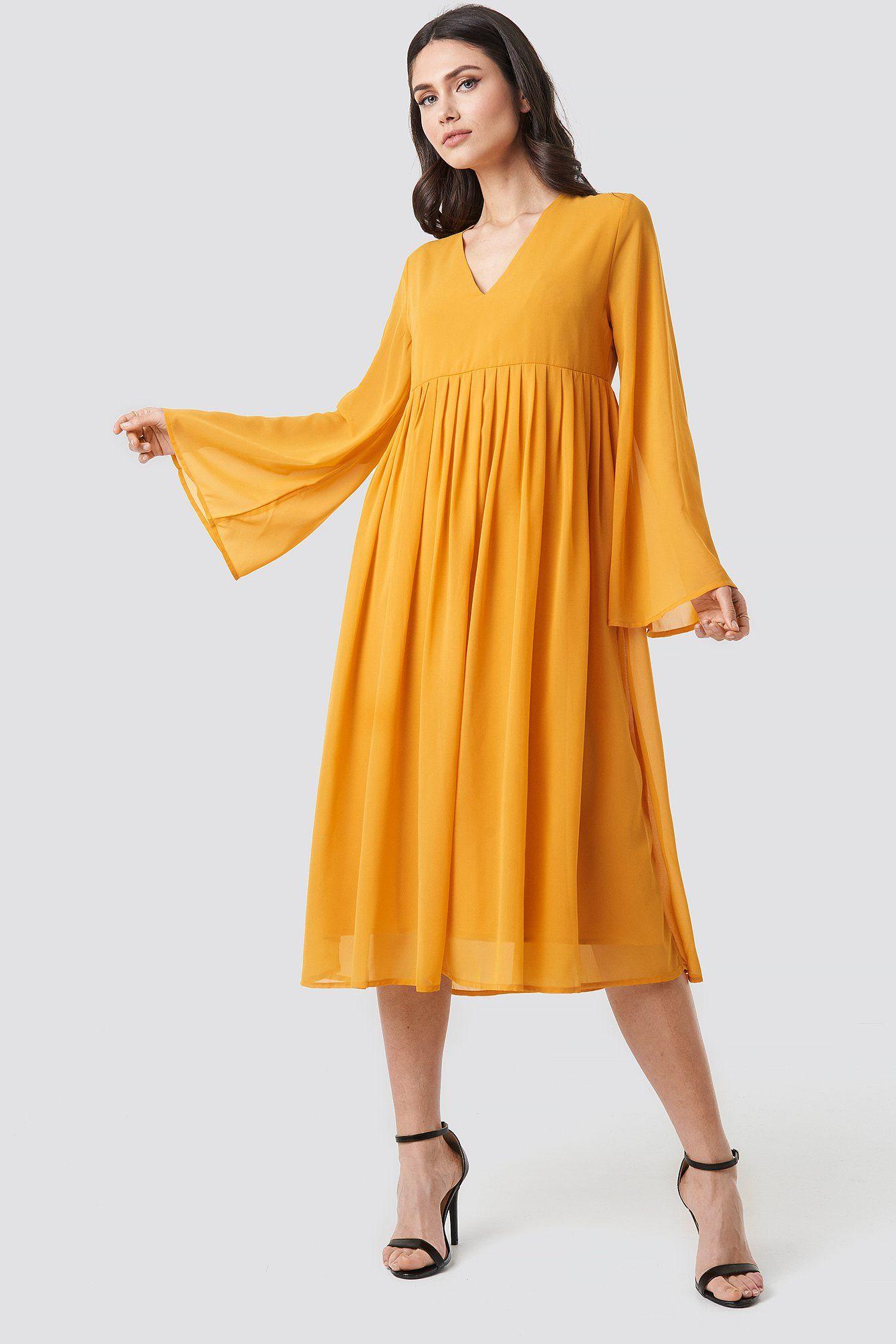 Wide Sleeve Flowy Chiffon Dress Yellow Flowy Chiffon Dress Chiffon Dress Dresses [ 2010 x 1340 Pixel ]
